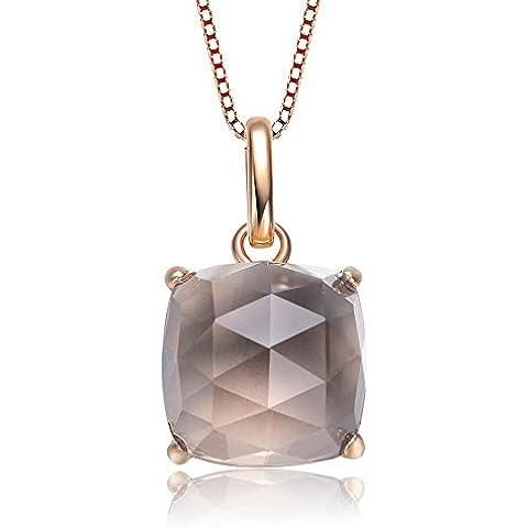 Elegante S925plata de ley Collar incrustaciones natural Asscher Smoky cristal de cuarzo colgante con cadena de plata