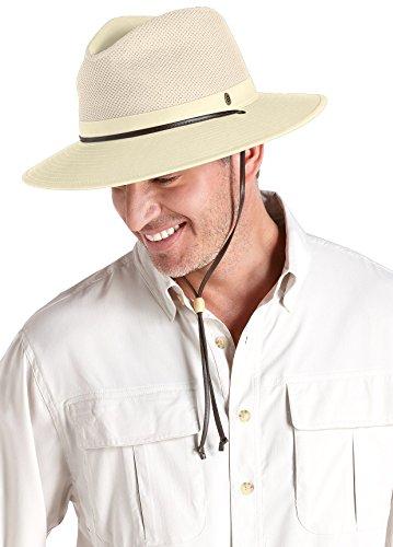 Coolibar Herren Fedora UV-Schutz 50+ Hut, Beige, S/M (58CM) - Kinnband Hut