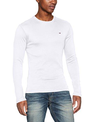 Tommy Jeans Herren Langarmshirt TJM Original Rib Longsleeve Tee, Weiß (Classic White 100), X-Large