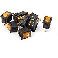 AC 110-220V de la luz ámbar SPST 3 botones ON / OFF del interruptor 9PCS Barco Rocker