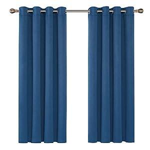 Deconovo Blickdichter Vorhang mit Ösen Wohnzimmer Blickdicht Verdunkelungsgardine 138×132 cm Dunkelblau 2er Set
