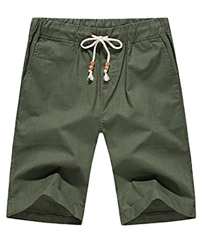 LILBETTER Mens Drawstring Pocket Elastic Linen Cotton Casual Cargo Shorts (Army Green,XL)
