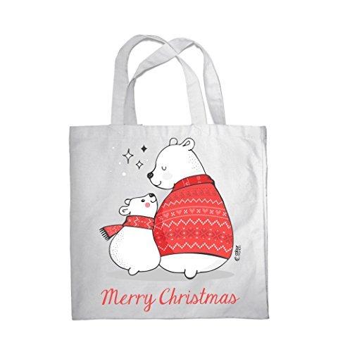 COLOUR FASHION Merry Christmas Grande e piccolo Bears SPESA BORSA DA SPIAGGIA BORSA 0089 Bianco Compras En Línea Para La Venta hHE2ghbg