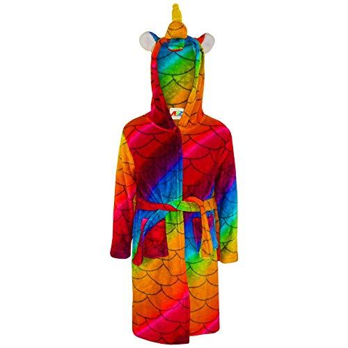 Jungen Bademantel Kinder Tier Weiche - Bathrobe Unicorn Rainbow Scales 3-4 ()