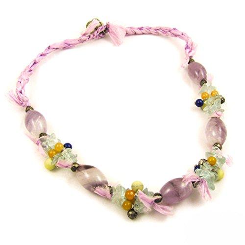 samaki - Fluorit Edelstein Seidenkette mit Regenbogenfluorit (Seide Pastellfarben)