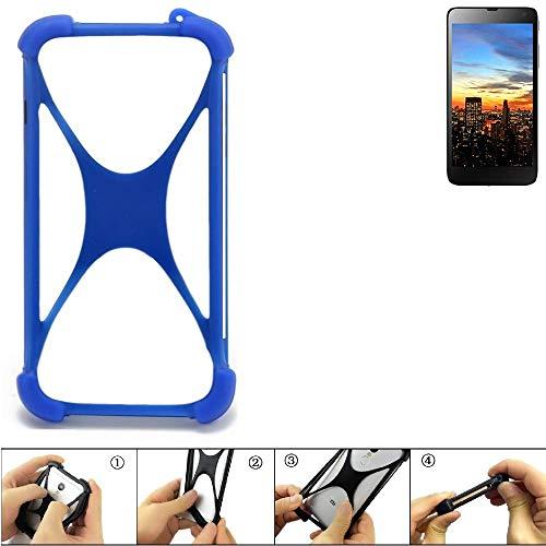 K-S-Trade Bumper für Hisense HS-U970E-8 Silikon Schutz Hülle Handyhülle Silikoncase Softcase Cover Case Stoßschutz, blau (1x)