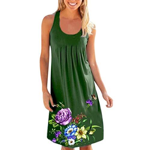 TIFIY Kleid Damen, Sommer ärmellose Blumendruckfalte einfacher O-Ausschnitt Karneval Mode Sommer...