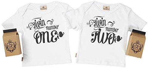 SR - estuche de presentación - Twin One & Twin Two camiseta gemelos bebé - ropa para gemelos bebé - regalo para gemelos bebé, Blanco, 3-4 años