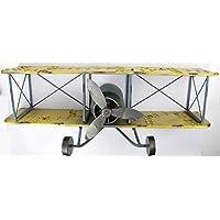 Airplane Aeroplane Wall Shelf Unit Metal Iron 80 CM Double Decker Blechflugzeug