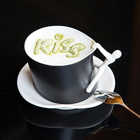 YX.LLA La Taza de Café Taza de cerámica personalizada tazas de agua recipiente el tazas taza de café de moda con una cuchara y un tenedor.,negro+El+PLATO cuchara de acero inoxidable