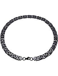 8659ff910cb3 Soul-cats® plana Cadena bizantina Curb collar de cadena para hombre de  acero inoxidable Pulsera de cadena de plata