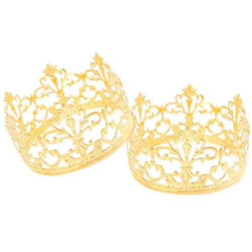 AIM Cloudbed 2 Stück Gold Kronen Kuchen Topper Vintage Krone Kleine Gold Hochzeit Kuchen Topper King/Prinzessin Kuchen Geburtstag Party Dekoration (Prinzessin Geburtstag Krone)
