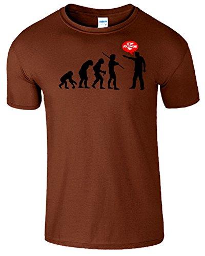 Evolution Stop Following Me Komisch Herren T-Shirt Kastanie