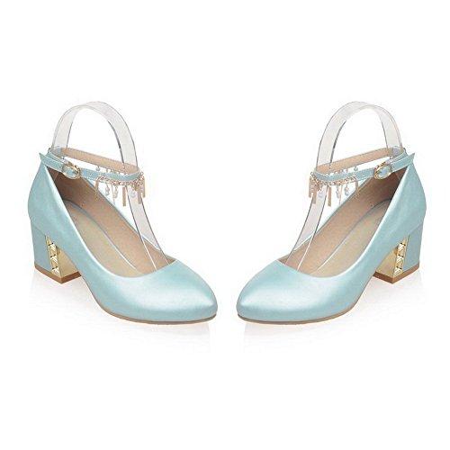 AgooLar Femme à Talon Correct Matière Souple Mosaïque Boucle Rond Chaussures Légeres Azur