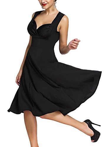 Minetom Femme Vintage 1950's Style Audrey Hepburn À pois Rockabilly Swing Sans Manche Col V Floral Robe de Soirée Cocktaile Noir