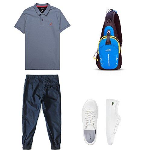 FANDARE Sling Bag Rucksack Umhängetasche Brusttasche Messenger Bag Hiking Bag Daypack Crossbody Bag Schultertasche Reiserucksack Polyester Gelb Hellblau