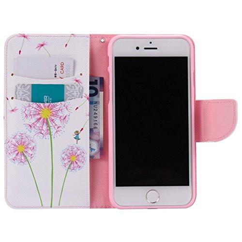 Custodia a portafoglio per iPhone 7/8 Pink Dandelion Pink Dandelion