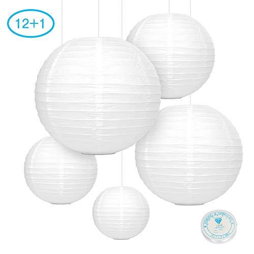 12x Laterne Papier Weiß Falt Lampions Groß und Klein für Draußen und Innen Deko| Lampion für Garten Hochzeit Party Basteln 20cm 25cm 30cm 35cm mit Kristalllinie