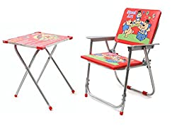 Bazaar Pirates Kids Foldable Study Table And Chair (Red)