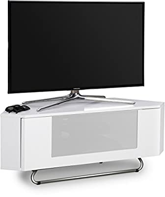 "Centurion Supports Hampshire Corner-Friendly Gloss White with White Beam-Thru Remote Friendly Door 26""-50"" Flat Screen TV Cabinet"