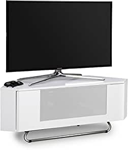 "Centurion Supports Hampshire Corner-Friendly Gloss White with White Beam-Thru Remote Friendly Door 26""-50"" Flat Screen TV Cabinet"