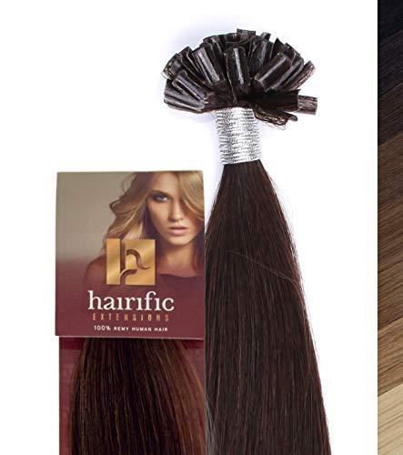 hairific Keratin Extensions Echthaar, Dunkelbraun - 40cm, Bonding Haarverdichtung- und Verlängerung, 100% Remy Hair, Salon Qualität, 50 Strähnen -
