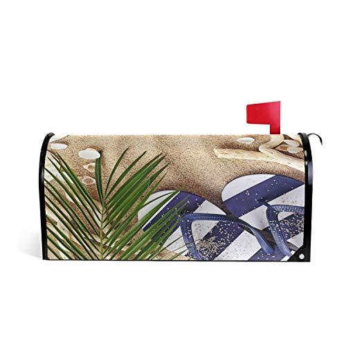 funnyy Witzige Sommer-Flip-Flops mit Blättern, magnetische Briefkasten-Abdeckung, Standardgröße 5,8 x 45,7 cm -