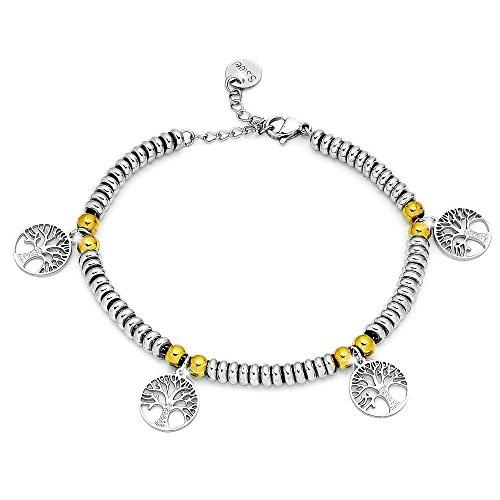 Beloved ❤️ bracciale da donna, braccialetto in acciaio con ciondoli pendente colore argento, colore oro - misura regolabile - anallergico (albero della vita silver)
