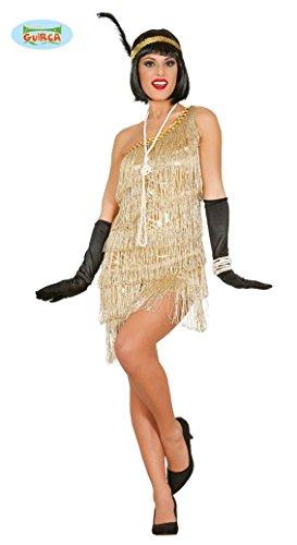 goldenes Charleston Kleid Karneval 20er Jahre Party Kostüm Fransen Damen Damenkostüm Mafia Gangsterbraut Flapper Gr. S - L, Größe:M
