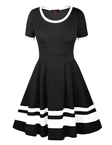 VESSOS Damen Kleid Vintage A-Linie Kurzarm Streifen Cocktailkleid in europäischen Größen, Schwarz Weiß, Größe M (Rock Weiß Schwarz)