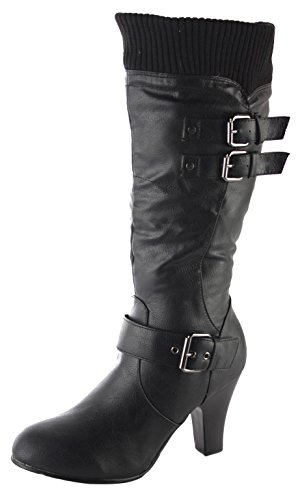 Ladies Womens Black Slouch Style High Block Heel Winter Stretch Mid High...
