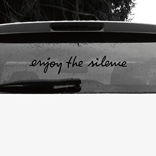 Auto Schriftzug (Schriftzug Enjoy the Silence Aufkleber Tattoo die cut car Decal Auto Heck Deko Folie Depeche Mode (schwarz invers))
