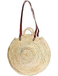 Capazo Bolso Cesto Redondo con solapa cuero Modelo Palma