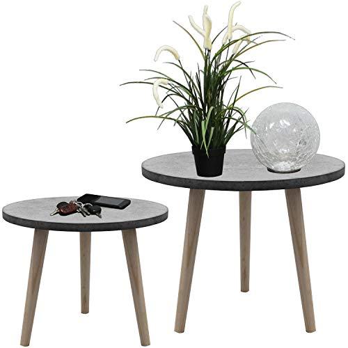 Wohaga 2er Set Satztische rund 39/49cm, Grau/Natur, Couchtische Telefontische Serviertische Blumentische Beistelltische aus Holz