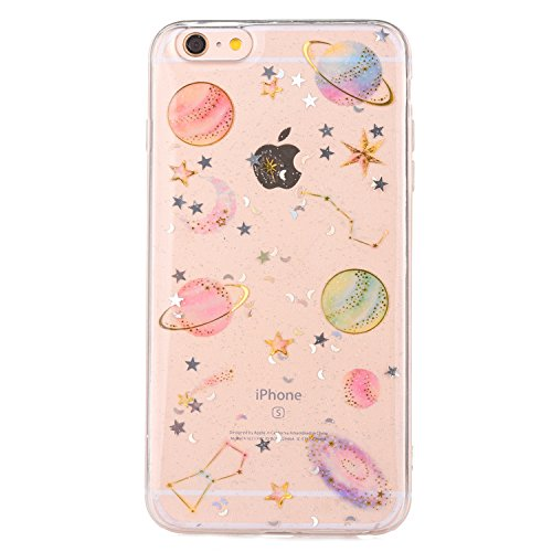 iPhone 6/ iPhone 6S Case [With Tempered Glass Screen Protector],Mo-Beauty Bling Shiny Cute Pattern Design Sparkle Glitter Soft TPU Silicone Case Cover For Apple iPhone 6/6S 4.7 Inch (Star)