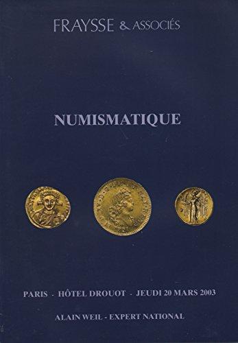 Numismatique : Vente, Paris, Htel Drouot, salle 12, 20 mars 2003