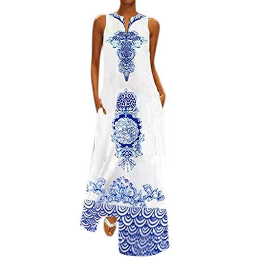 QIMANZI DamenBeiläufig Ärmellos V-Ausschnitt Blumendruck Maxi Tank Langes Kleid(A Blau,S) - Split Print Pullover