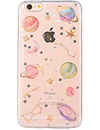 iPhone 6 Case,iPhone 6S Case Clear [With Free Tempered Glass Screen Protector],Mo-Beauty® Bling Shiny Cute Pattern Design Sparkle Glitter Shockproof Shining Fashion Style Soft Flexible TPU Silicone Gel Protective Shell Case Cover For Apple iPhone 6/6S 4.7 Inch (Star)