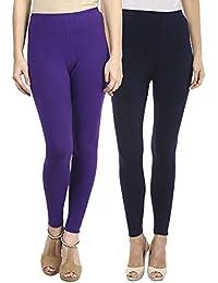 Sakhi Sang Leggings Pack of 2 : Purple & Navy Blue