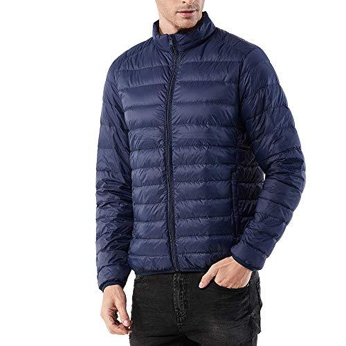 TWBB Daunenjacke,Herren Einfarbig Winter Warme Mantel Baumwollkleidung Pullover Mit Reißverschluss Outwear
