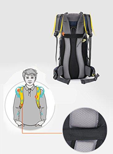 szbtf 60L Rucksack Wasserdicht Outdoor Sport Trekking Camping Pack Bergsteigen Klettern Rucksack mit Regenschutz blau