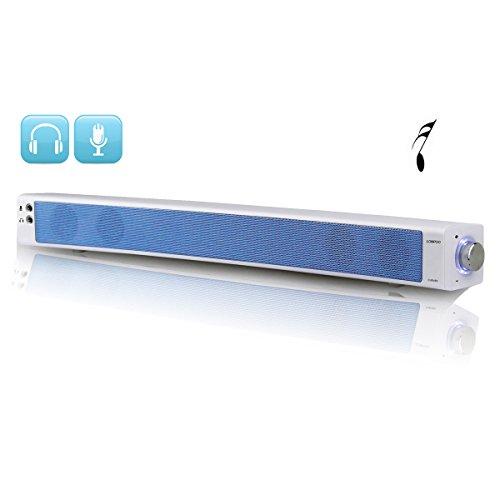 LONPOO 900N 2017 Nouvelle Barre de Son 10W USB Alimenté Mini Barre de Son PC Haut-Parleur Courbé Retour Conception Machine Ligne Séparation Avec Micro Écouteur Sortie (blanc)