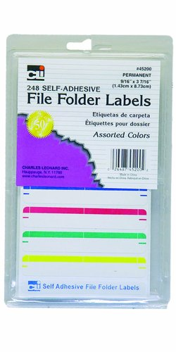 Charles Leonard Inc. Carpeta de archivo etiquetas, 0,56x 9pulgadas, surtidos, 248/caja (45200)