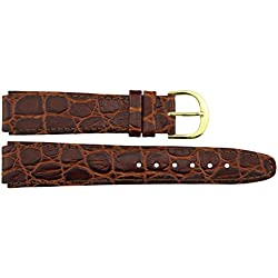 Watch Strap in Brown Leather - 16mm - Alligator grain - buckle in Gold stainless steel - B16BroAli55G