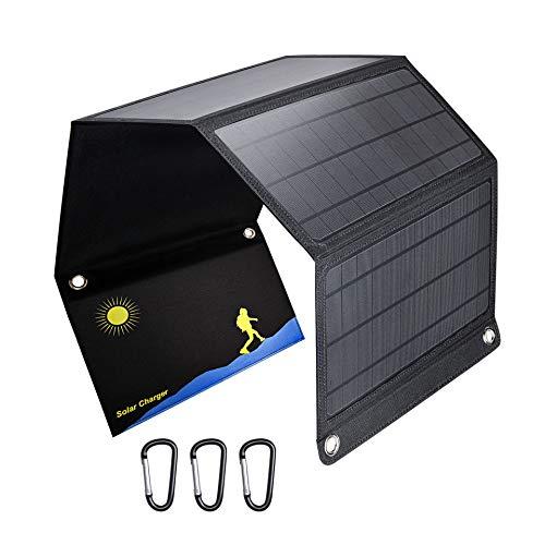 Nombre: Cargador solar plegablePotencia: 28 vatiosEficacia de conversión:> 20%Salida: 3USB, puerto común pico 53A, pico de carga rápida 4V3.6A / 5V3.4A / 9V2.5A / 12V2APeso del producto: 1.07kgColor: negroMaterial: PET panel solar de cristal único...