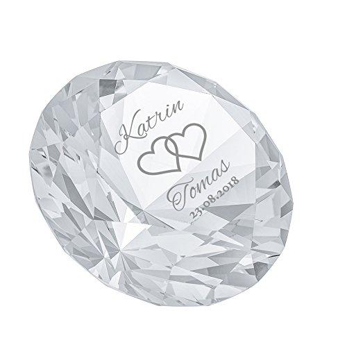 Casa Vivente Kristall aus Glas mit Gravur zur Hochzeit, Diamantenform, Motiv Herzen, Personalisiert mit Namen und Datum, Deko, Mit Geschenkbox