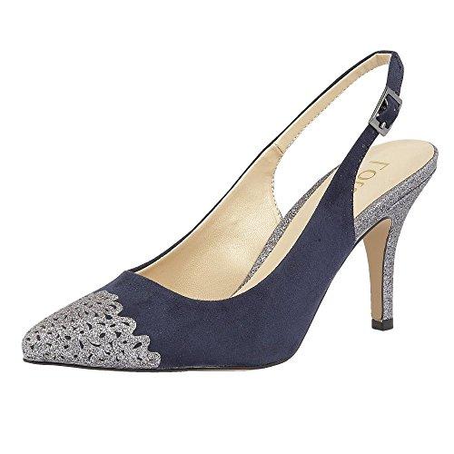 Lotus Arlind Navy & Pewter Glitz Sling-Back Court Shoes 4