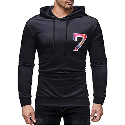 MäNner Casual 3D Printed Sweatshirt Top Streetwear Stile W006 Black M