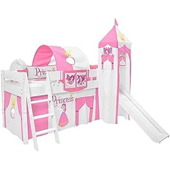 Kinderhochbett mit rutsche weiß  Kinderhochbett mit rutsche 90 x 200 Hochbett Luk Buche Vollholz ...
