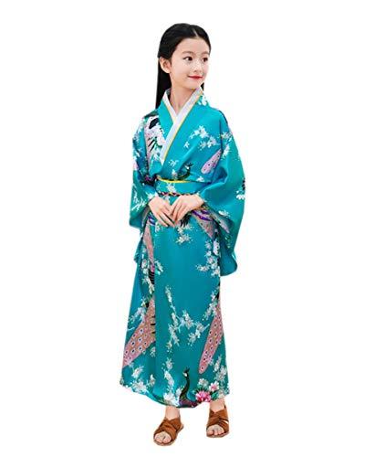 Kostüm Tanz Ethnischer - ACVIP Kinder Traditional Retro Ethnische Art Tanz Show Polyester Kimono (130-140, Dunkel Türkis)